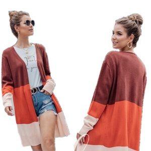 Long Color Block Knit Cardigan